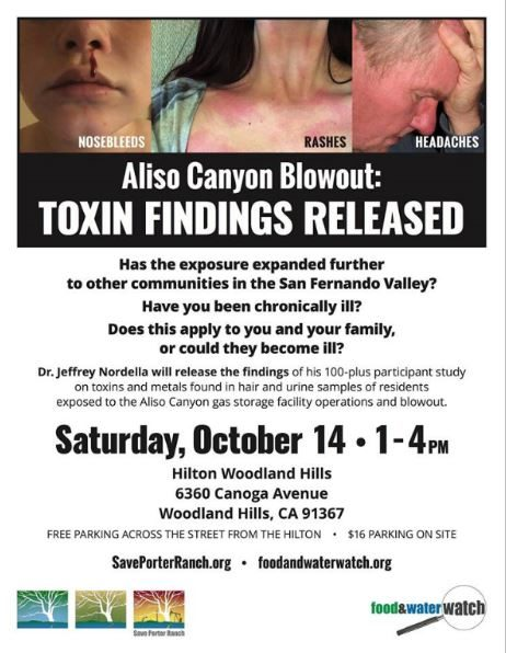 Aliso Canyon Health Study Town Hall flyer 2017.10.14